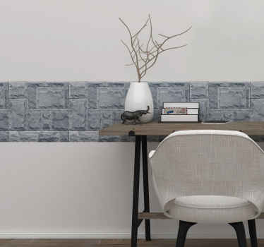 Lovely decorative grey stone tone wall border decal to beautify wall surface. Suitable for home and other places.  It is easy to apply and removable.