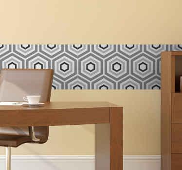 Haga una decoración perfecta en cualquier superficie de la pared con esta increíble cenefa decorativa de pared con formas hexagonales grises.