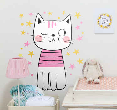 Crea una experiencia única en el cuarto de tus hija con este vinilo decorativo para niñas de gato nórdico rodeado de estrellas ¡Envío exprés!