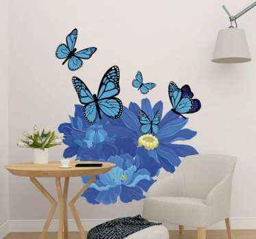 L'adesivo da parete fiori blu è una decorazione perfetta per il tuo appartamento. Presenta fiori blu e farfalle blu che volano intorno ad esso.