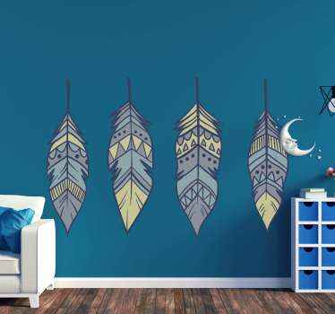 Wall sticker boho feathers. The patter shows four original feathers in blue shades. Easy to apply, made of high quality vinyl.