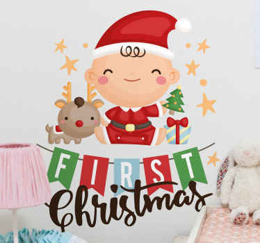 Vinilo para niños de pared de Papá Noel es una decoración perfecta para tus hijos para fortalecer el espíritu navideño ¡Elige medidas!