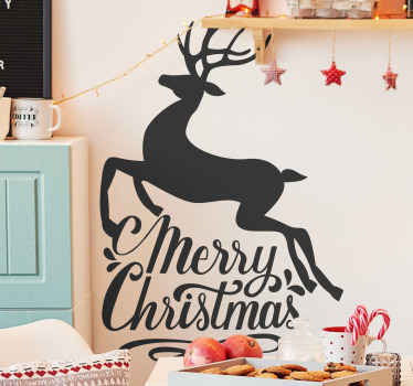 "Wall sticker with a happy xmas reindeer. The  sticker includes a text ""Merry Christmas and a reindeer. Easy to apply, made of high quality vinyl."