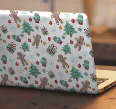 Christmas skin which features a lovely pattern of gingerbread men, presents, gloves and Christmas trees on a snowy white background.