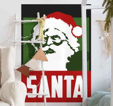 Dit fantastische ontwerp eigenschappen van de kerstman op groenachtergrond met tekst sticker een realistische foto van de kerstman met het woord santa eronder. Nu beschikbaar.