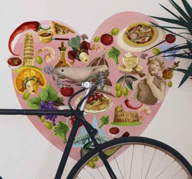 Un superbe adhesif italie en forme de coeur qui vous fera sentir comme si vous y étiez! Facile à appliquer et beau à regarder.