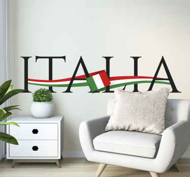 This country decal features the text Italia with an Italian flag in the middle and going through the entire text. Zero residue upon removal.