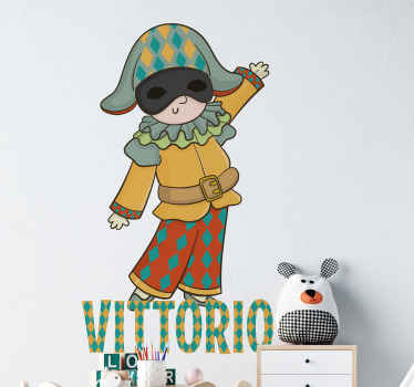 Customizable Italian character wall sticker design, it can be decorated on any room in a house. It  depicts classical comedy character from Italy.