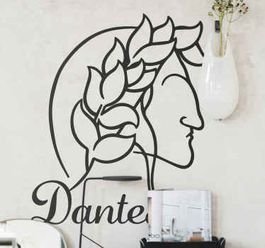 Character personality wall art decal depicted to be Dante Alighieri, an Italian poet. A design for lovers  and fans of Dante Alighieri.