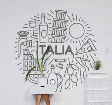 Vinilo pared comedor que representa a Italia. Diseño con patrón redondo con diferentes monumentos y el nombre 'italia' ¡Compra ahora!
