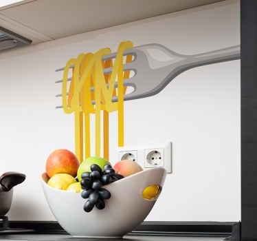 家庭用とレストラン用のスパゲッティフードステッカーデコレーション付きフォーク。素敵なキッチン料理のテーマデカールは本当に簡単に貼れます。