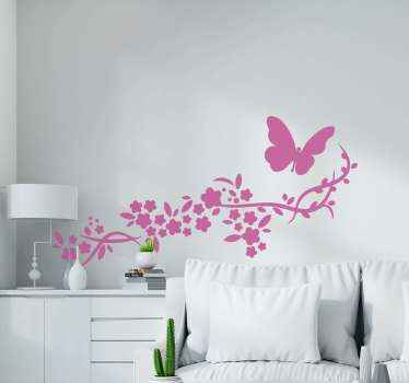 Butterflies  and flower wall art decal for home decoration. A design customizable in about 50 different colour options. Easy to apply and adhesive.