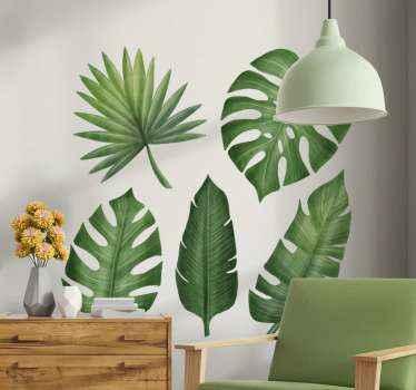 Groene bladplant sticker met verschillende ontwerpen van bladeren. Als u van natuur en planten houdt, dan is dit ontwerp iets voor jou.