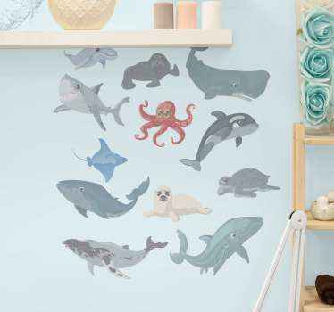 Realistic sea animal wall sticker design containing different sea animals. On the design is a dolphin, octopus, whale, shark, turtle, etc.