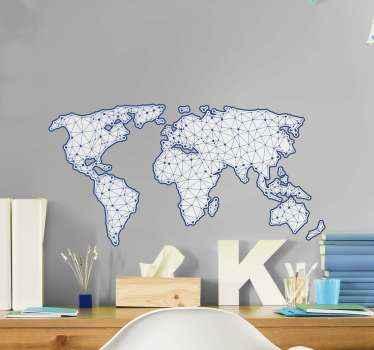 Vinilo pared mapamundi geométrico para decorar tu oficina y hogar. El diseño ilustra líneas de conexión azules ¡Elige tu tamaño!