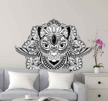 Mandala wall art sticker for home decoration. The design is an abstract design depicting a cat. It is original and easy to apply.