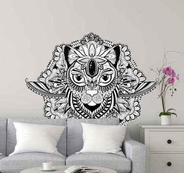 家の装飾のためのマンダラウォールアートステッカー。デザインは猫を描いた抽象的なデザインです。オリジナルで簡単に適用できます。