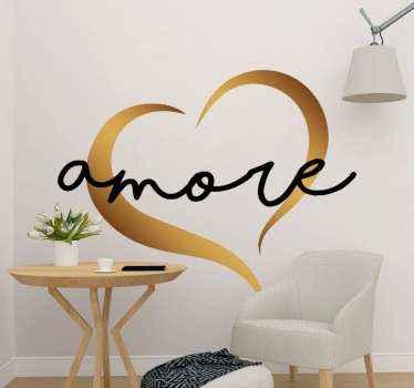 Testo d'amore decorativo con adesivo a cuore per decorare qualsiasi superficie piana di scelta. Può essere applicato su laptop, mobili, interruttore della luce ecc.