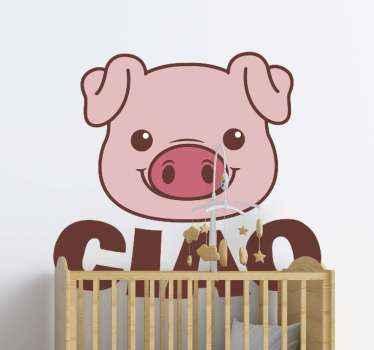 """Semplice adesivo decorativo che può essere applicato su mobili, interruttore della luce, muro, porta ecc. Un piccolo disegno con la parola """"ciao""""."""