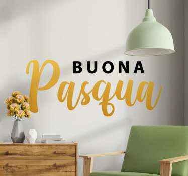 """Adesivo decorativo festivo che può essere attaccato a mobili, finestre e pareti è creato con il testo che dice """"buona pasqua"""". Facile da applicare."""