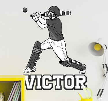 Decorative personalized name cricket sport player wall decal. The product is original ad available in any needed size of choice.