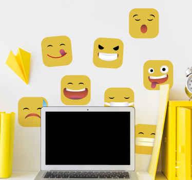Decora tu espacio con nuestro vinilo juvenil emojis de redes sociales con diferentes reacciones en color amarillo ¡Envío a domicilio!