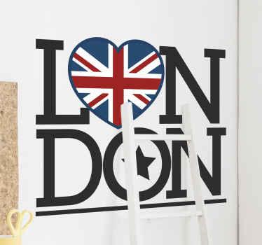 Londen tekst met hartvormige vlag sticker. Een mooi ontwerp om londen op elke plek te symboliseren en te markeren. Het is origineel en gemakkelijk aan te brengen op elke vlakke ondergrond.