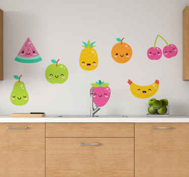 Funny kitchen wall art sticker containing  8 packs of different fruits with funny iconic emoji faces. It is available in different sizes and  adhesive.