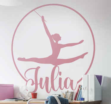 Customize the name of your teen or kid in our original ballerina dance wall sticker. . An illustration design of a girl  dancing bailer.
