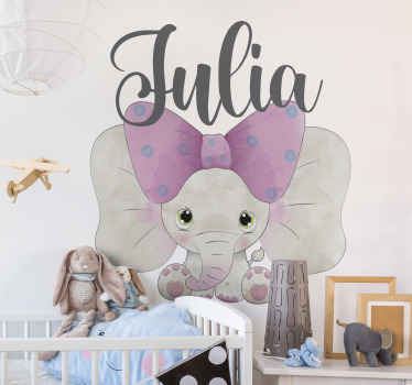 Decorate the room of your young one with this illustrative elephant animal sticker. It is a customizable name kid's decal  for bedroom space.
