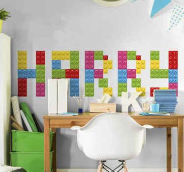 Ozdobte pokoj svého mladého tímto přizpůsobeným obtiskem se jménem lego. Design je sestavený lego kostky používané k vytvoření jména.