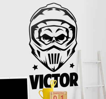 Décorez la chambre de votre jeune avec ces stickers muraux de motocross illustrative personnalisable . Disponible en différentes couleurs.