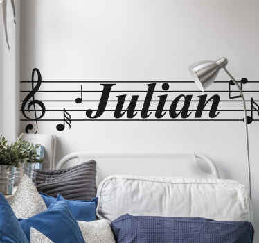 Customize any space you want with our original music note decal. It is personalisable with any name of choice. Original and easy to apply.