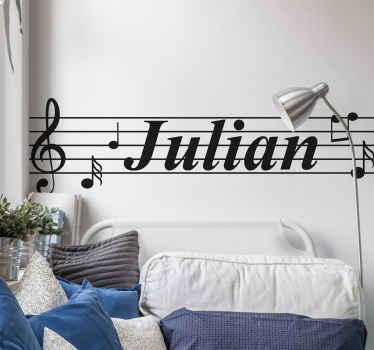 Decora la habitación de tu hijo con este vinilo decorativo infantil de pentagrama musical con notas y nombre. Elige medidas ¡Envío a domicilio!