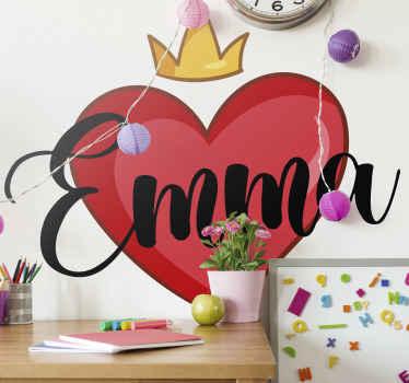 Personalice la habitación de su hija con un vinilo decorativo para niñas con corazón, corona y un nombre personalizable ¡Envío a domicilio!
