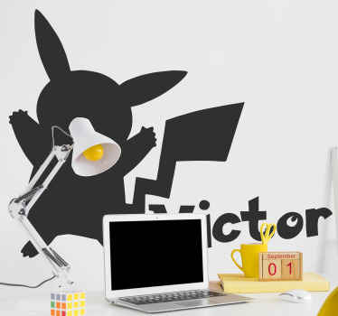Decorative silhouette sticker of Pokemon with name for children bedroom decoration. The design can be applied on wall, door, furniture and more.