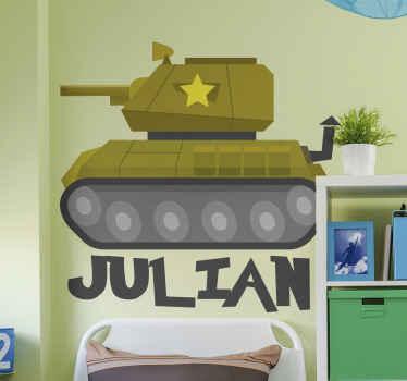 Decoratieve gepersonaliseerde naam tank sticker. Een illustratief oorlogsank met naam sticker ontwerp voor een kinderkamer. Het is heel gemakkelijk aan te brengen en gemaakt van hoogwaardig vinyl.
