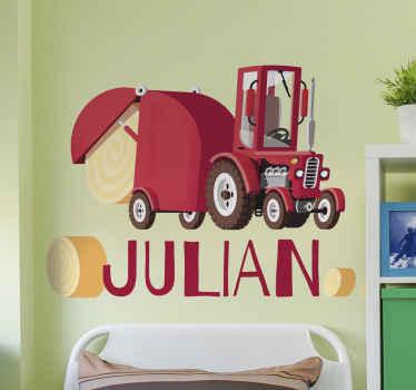 Adesivo del trattore con nome personalizzato. Un disegno illustrativo adatto per lo spazio della stanza di un ragazzo. Il prodotto è originale e disponibile in qualsiasi dimensione richiesta.