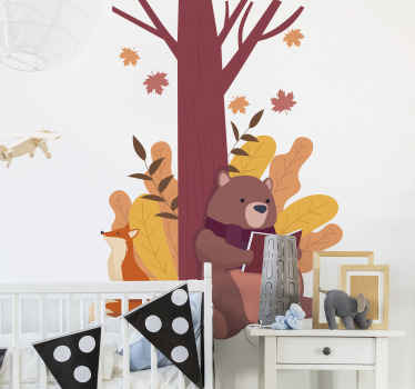 An illustrative design of a cute bear under a tree with a rabbit. A colorful tree and animal wall art decal to beautify children bedroom.