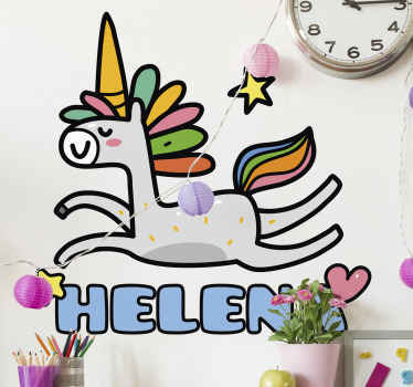 Create an interesting fairy tale atmosphere in the bedroom of your kid with this fairy tale unicorn sticker.  Quality vinyl product with durability.