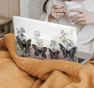 Decoratief vlinders op witte achtergrond laptop sticker ontwerp gemaakt met mooie kleurrijke vlinders. Verkrijgbaar in elke laptopafmeting en zeer eenvoudig aan te brengen.
