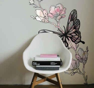 Personaliseer elke muur ruimte met de schoonheid van deze mooie decoratieve vlinder muursticker gemaakt in verschillende kleuren. Geschikt voor elk plat oppervlak.