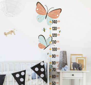Purchase our children height chart decal with butterflies and  bees design. A design that would be admired and loved by any child.