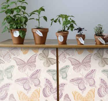 stickers de motifs de papillons décoratifs colorés pour meubles, facile à appliquer avec l'utilisation d'une raclette. En sticker et adhésif de haute qualité.