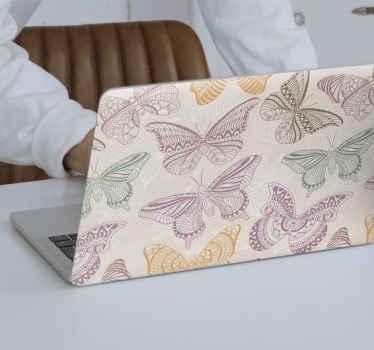 Klistremerke med farget dekorative sommerfugler. Vår fantastiske flerfargede sommerfugl-utskrifter er merket med vinyl av høy kvalitet.