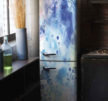 Decorative waterproof fridge door door decal with the design of an abstract blue painted background containing plant and butterflies.