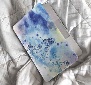 Dekoratívna modrá abstraktná maľba s motýľmi obtlačok na notebook. ľahko sa nanáša, má odolnosť proti vráskam, matný povrch a je odolný.