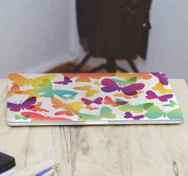 Autocollant décoratif et étonnant imprimé papillon coloré pour votre ordinateur portable. Il est fait de sticker de haute qualité et résiste à l'effet de plis.