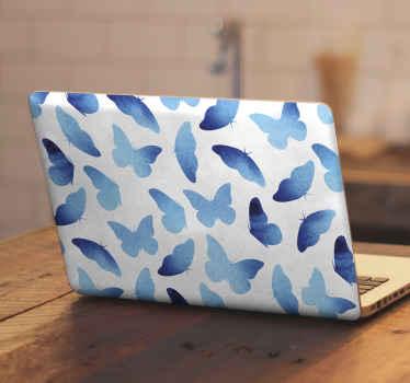 Vinil para laptop con mariposas de color azul para decorar tu portátil con un toque encantador y tierno ¡Envío a domicilio!
