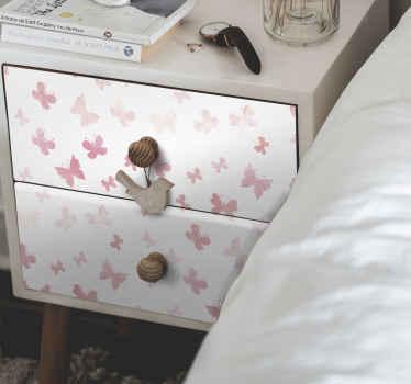すべての家具スペースに適した装飾的なピンクの蝶の家具ステッカー。それは寝室の引き出しやワードローブに適用できます。